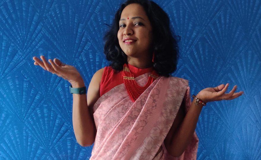 Saree-gama Raw tissue pink saree