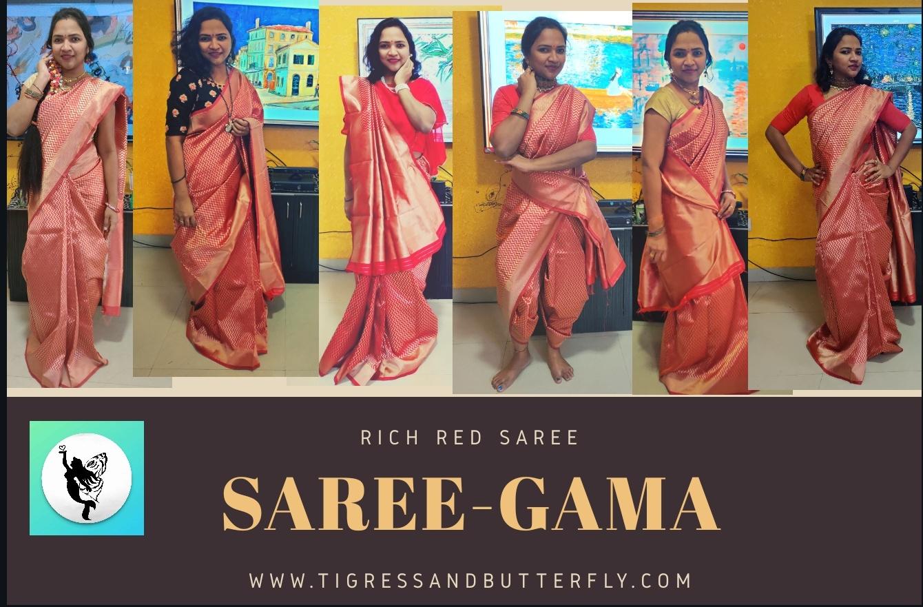 Saree-gama rich red saree